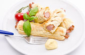 Frankfurter and puff pastry — Stock Photo