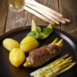 Asparagus full beefs olive of the calf — Stock Photo