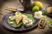 Cakes with spinach and feta cheese — Stock Photo