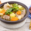 Stock Photo: Vegetable stew with meat and herbs