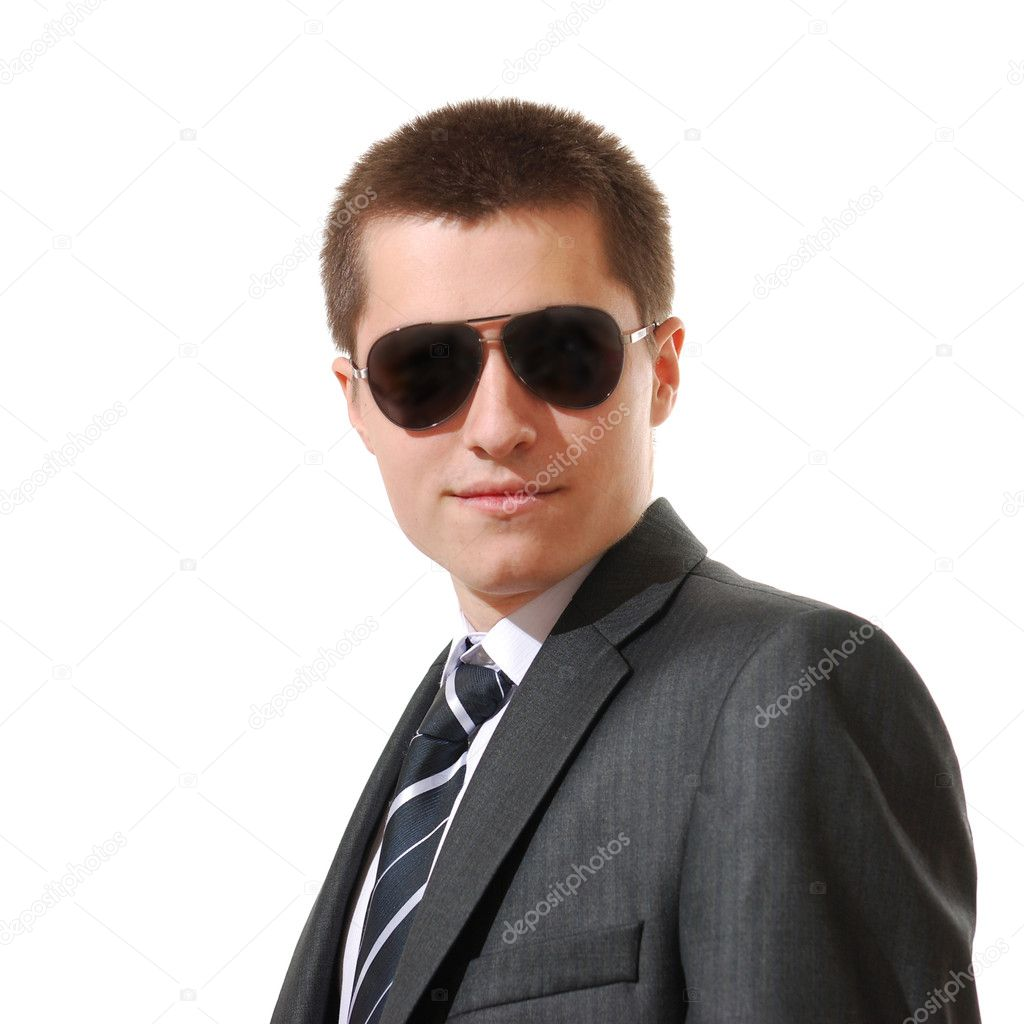 Young businessman with sunglasses — Stock Photo #11012525