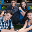 Four teenagers — Stock Photo