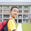 Asian kid happy to go to school - Stock Photo