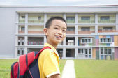 Asian kid happy to go to school — Stock Photo