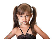 Portrait of funny angry child girl — Stock Photo