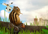 Chipmunk emigrant, ecology concept — Stock Photo
