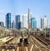 Central station Frankfurt am Main with skyscrapers — Stock Photo