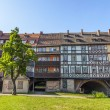 Stock Photo: Houses on Kraemerbruecke - Merchants Bridge in Erfurt, Germany.