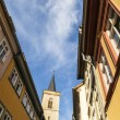Houses on Kraemerbruecke - Merchants Bridge in Erfurt, Germany. — Stock Photo