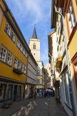 Houses on Kraemerbruecke - Merchants Bridge in Erfurt, Germany. — Stock Photo