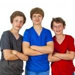 Three happy joyful friends enjoy life — Stock Photo #10918476