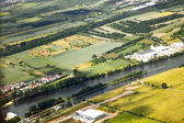 Aerial landscape view with river Main — Stock Photo