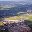 Aerial landscape view with airport in rural Eiffel area — Stock Photo