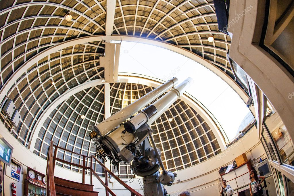 Famous Zeiss Telescope At The Griffith Observatory Stock