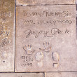 Stock Photo: Handprints in Hollywood Boulevard in concrete of Chinese The