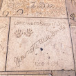 Handprints in Hollywood Boulevard in the concrete of Chinese The — Stock Photo #11645463