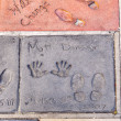 Handprints in Hollywood Boulevard in the concrete of Chinese The — Stock Photo #11647795