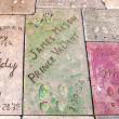 Handprints in Hollywood Boulevard in the concrete of Chinese The — Stock Photo #11647832