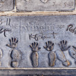 Michael Jacksons handprints in Hollywood Boulevard - Stock Photo