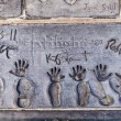 Michael Jacksons handprints in Hollywood Boulevard — Stock Photo #11647983