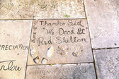 Handprints in Hollywood Boulevard in the concrete of Chinese The — ストック写真