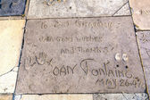 Joan Fontaines handprints in Hollywood Boulevard — Stock Photo