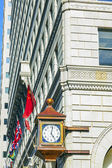 Facade with old clock in the gaslamp quarter in San Diego — Stock Photo