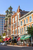 Facade of historic houses in the gaslamp quarter in San Diego — Stock Photo