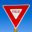 Yield Sign at the highway with blue sky — Stock Photo