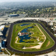 Aerial of Los Angeles and the Hollywood Park with horse race tra — Stok fotoğraf