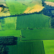 Aerial view of green fields and slopes — Stock Photo