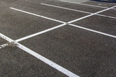 Lines for parking lotzs drawn on the asphalt — Stock Photo