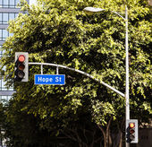 Street sign Hope street downtown Los Angeles — Stock Photo