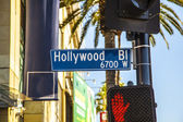 Bulevar hollywood sign calle en hollywood — Foto de Stock
