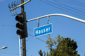 Street sign Hauser in Hollywood — Stock Photo