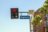 Highland segnale stradale strada a hollywood — Foto Stock