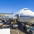 Постер, плакат: Lufthansa Boeing 747 parks at gate position