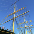 Stock Photo: Detail of the three-master Balclutha (1886), San Francisco Marit