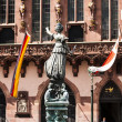 Statue of Lady Justice in front of the Romer in Frankfurt — Stock Photo #12135473