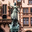 Statue of Lady Justice in front of the Romer in Frankfurt — Stock Photo #12135553