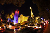 The strip and Paris Las Vegas hotel — Stock Photo