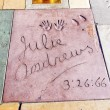 Handprints of Julie Andrews in Hollywood Boulevard in the concre - ストック写真