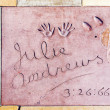 Handprints of Julie Andrews in Hollywood Boulevard in the concre - Foto Stock