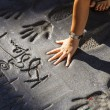 Handprints of twilight saga stars in Hollywood Boulevard in the - Foto de Stock