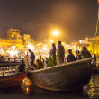 Night view of varanasi from the gange river, India. — Stock Photo
