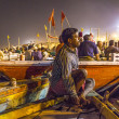 Night view of varanasi from the gange river, India. - Stock Photo