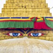 bodhnath stupa in kathmandu with buddha eyes and prayer flags wi — Stock Photo