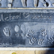 Michael Jacksons handprints in Hollywood Boulevard in the concre — Stock Photo #12307772