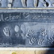Michael Jacksons handprints in Hollywood Boulevard in the concre — Stock Photo