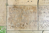 Loretta Youngs handprints in Hollywood Boulevard in the concrete — Stock Photo